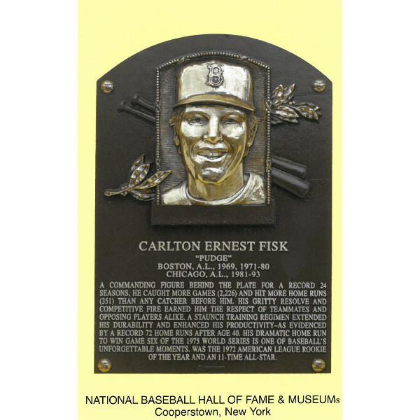 Carlton Fisk Baseball Hall of Fame Plaque Postcard