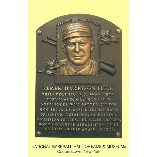 Elmer Flick Baseball Hall of Fame Plaque Postcard