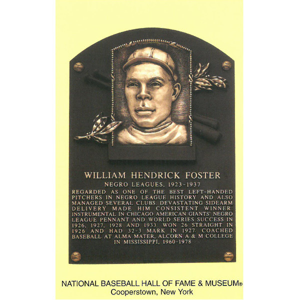 Bill Foster Baseball Hall of Fame Plaque Postcard