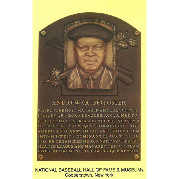 Rube Foster Baseball Hall of Fame Plaque Postcard