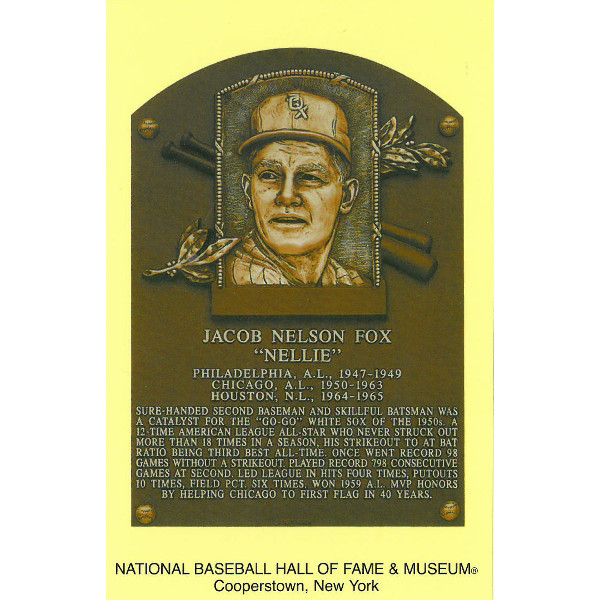 Nellie Fox Baseball Hall of Fame Plaque Postcard