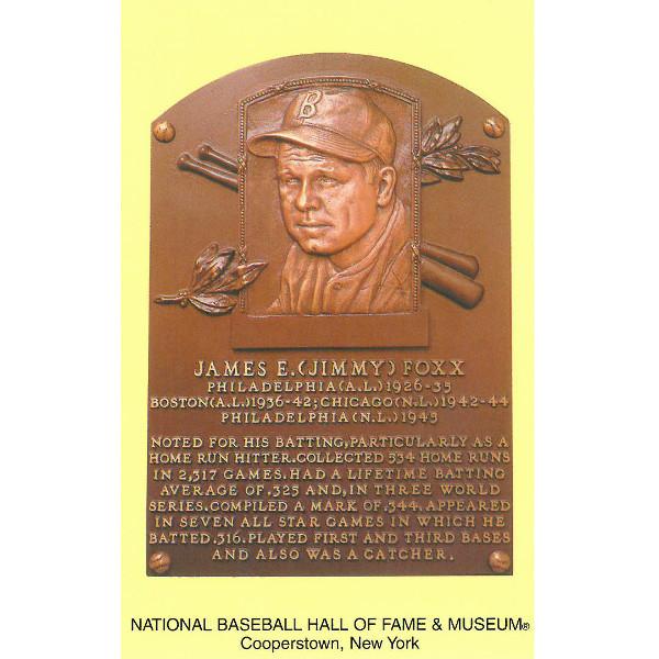 Jimmie Foxx Baseball Hall of Fame Plaque Postcard