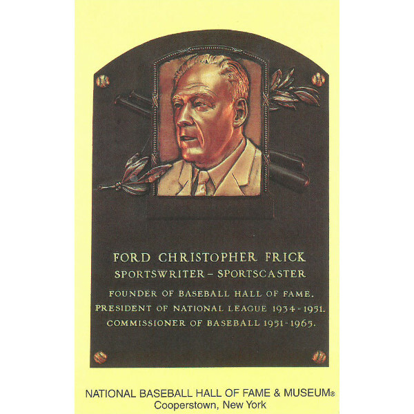 Ford C. Frick Baseball Hall of Fame Plaque Postcard