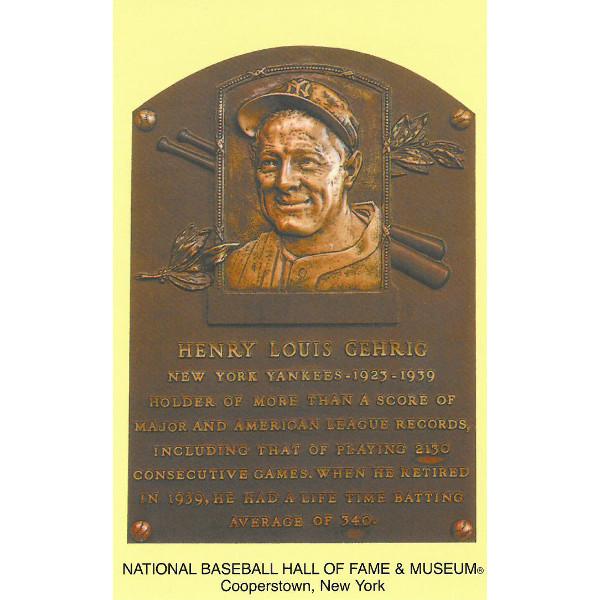 Lou Gehrig Baseball Hall of Fame Plaque Postcard