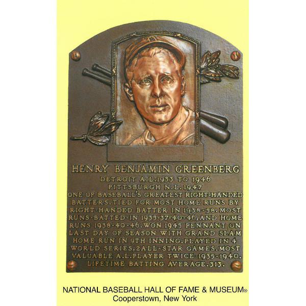 Hank Greenberg Baseball Hall of Fame Plaque Postcard