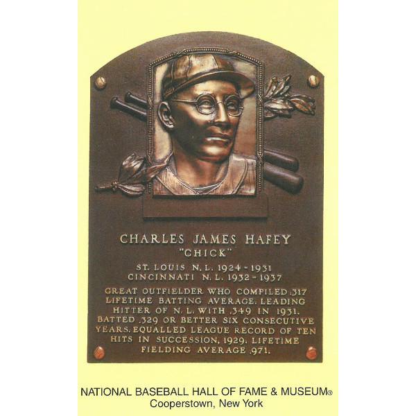 Chick Hafey Baseball Hall of Fame Plaque Postcard
