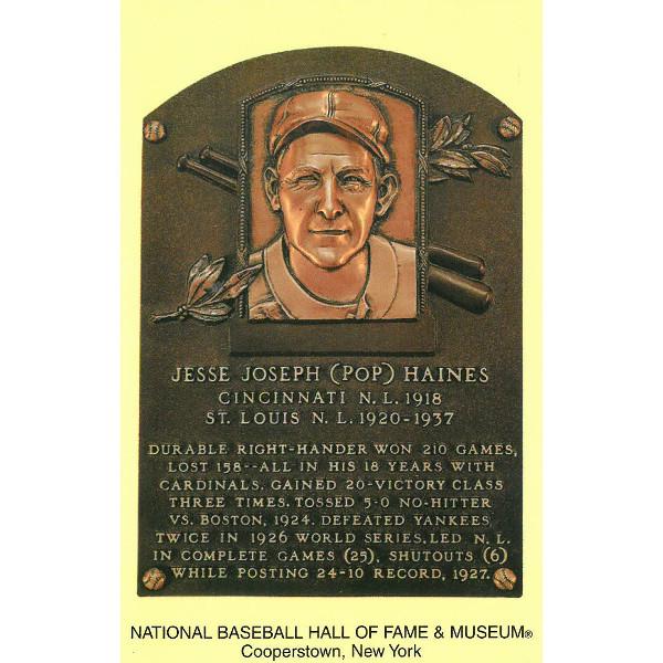Jesse Haines Baseball Hall of Fame Plaque Postcard