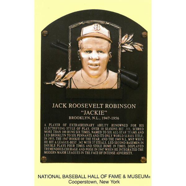 Jackie Robinson Baseball Hall of Fame Plaque Postcard