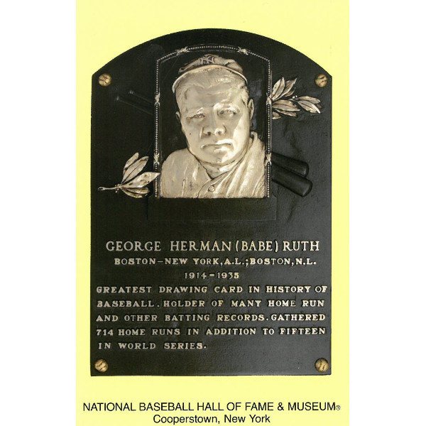 Babe Ruth Baseball Hall of Fame Plaque Postcard