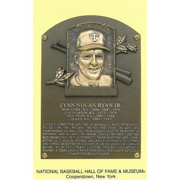 Nolan Ryan Baseball Hall of Fame Plaque Postcard