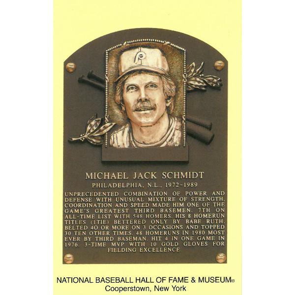 Mike Schmidt Baseball Hall of Fame Plaque Postcard