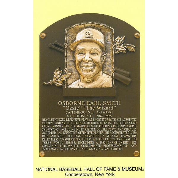 Ozzie Smith Baseball Hall of Fame Plaque Postcard