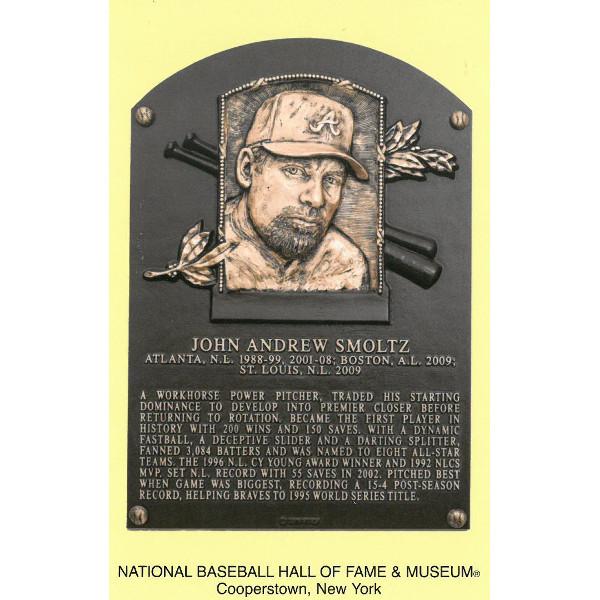 John Smoltz Baseball Hall of Fame Plaque Postcard
