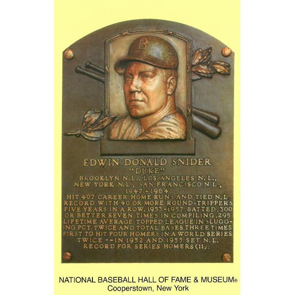Duke Snider Baseball Hall of Fame Plaque Postcard