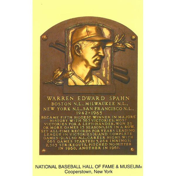 Warren Spahn Baseball Hall of Fame Plaque Postcard