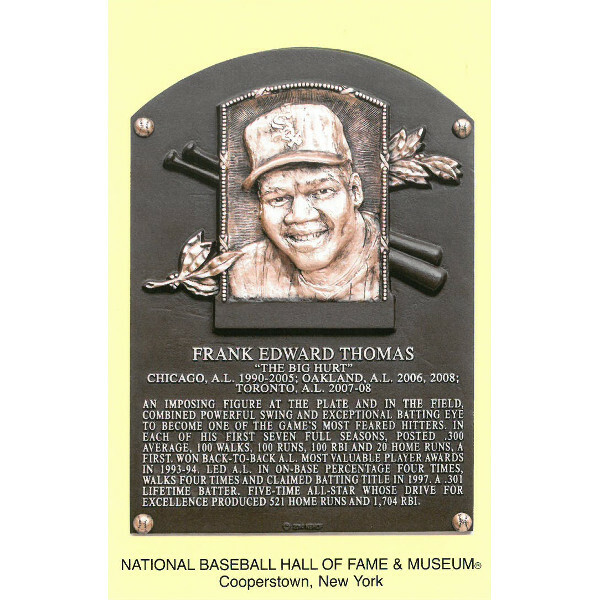 Frank Thomas Baseball Hall of Fame Plaque Postcard