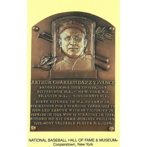 Dazzy Vance Baseball Hall of Fame Plaque Postcard