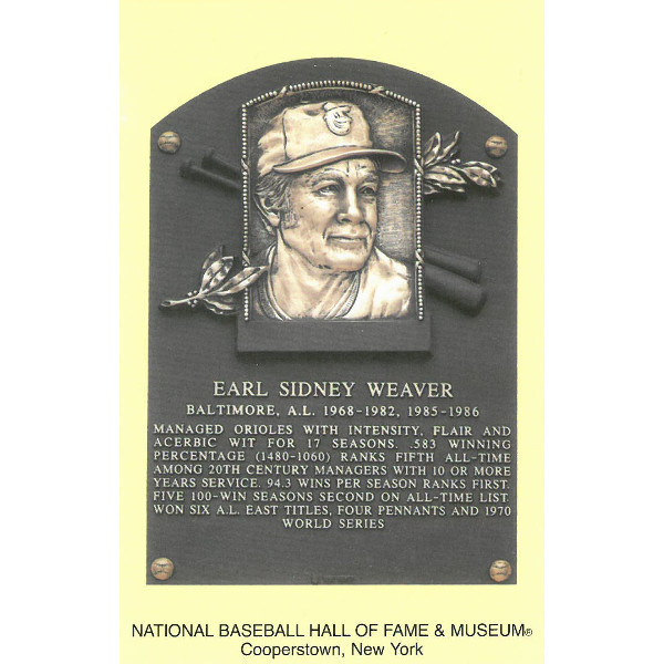 Earl Weaver Baseball Hall of Fame Plaque Postcard
