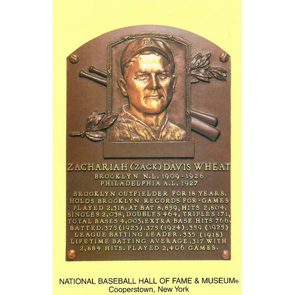 Zack Wheat Baseball Hall of Fame Plaque Postcard
