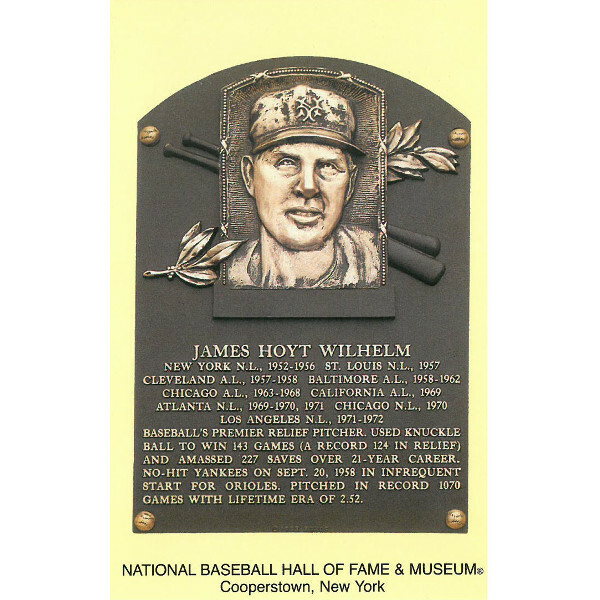 Hoyt Wilhelm Baseball Hall of Fame Plaque Postcard