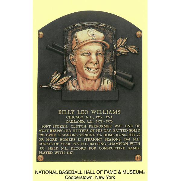 Billy Williams Baseball Hall of Fame Plaque Postcard