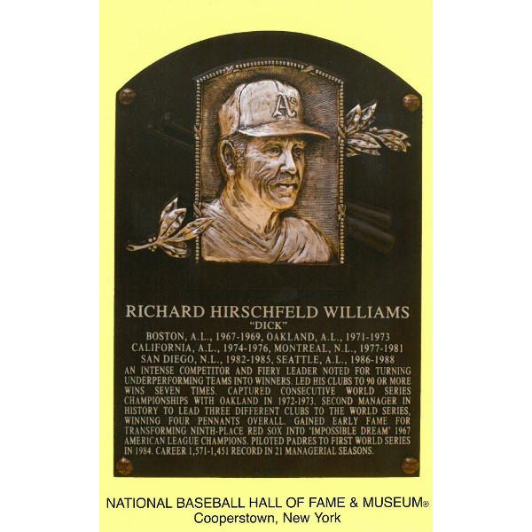 Dick Williams Baseball Hall of Fame Plaque Postcard