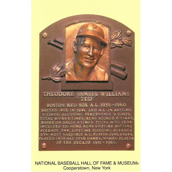 Ted Williams Baseball Hall of Fame Plaque Postcard