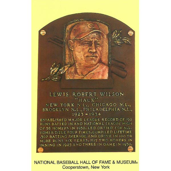 Hack Wilson Baseball Hall of Fame Plaque Postcard