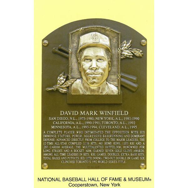 Dave Winfield Baseball Hall of Fame Plaque Postcard