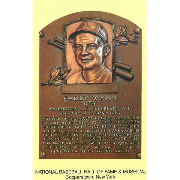 Early Wynn Baseball Hall of Fame Plaque Postcard