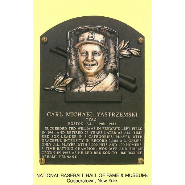 Carl Yastrzemski Baseball Hall of Fame Plaque Postcard