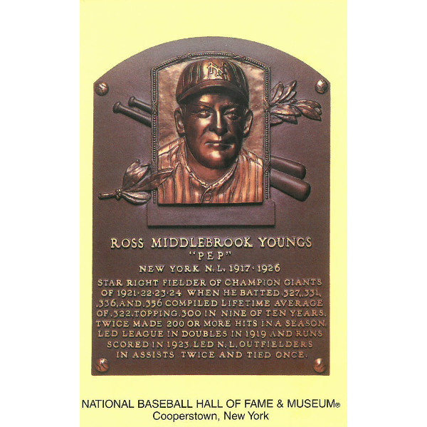 Ross Youngs Baseball Hall of Fame Plaque Postcard