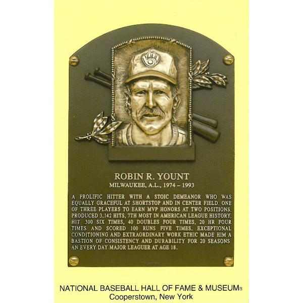 Robin Yount Baseball Hall of Fame Plaque Postcard