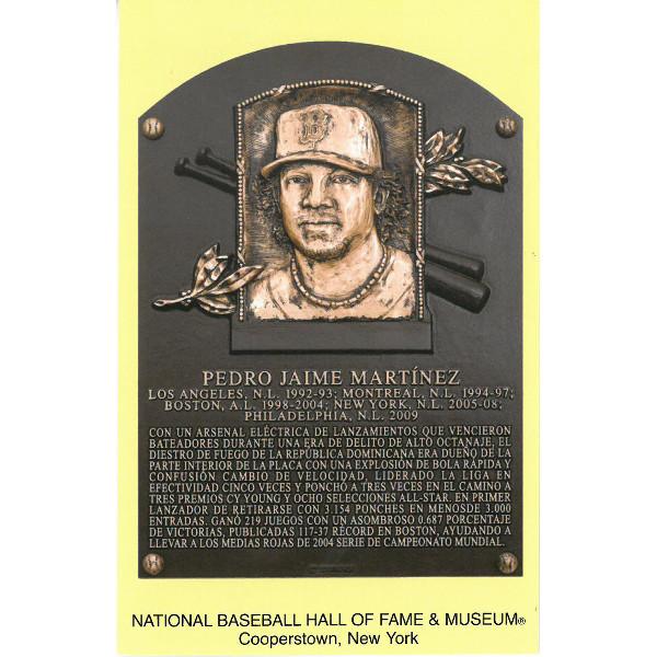 Pedro Martinez Baseball Hall of Fame Plaque Postcard (Spanish)