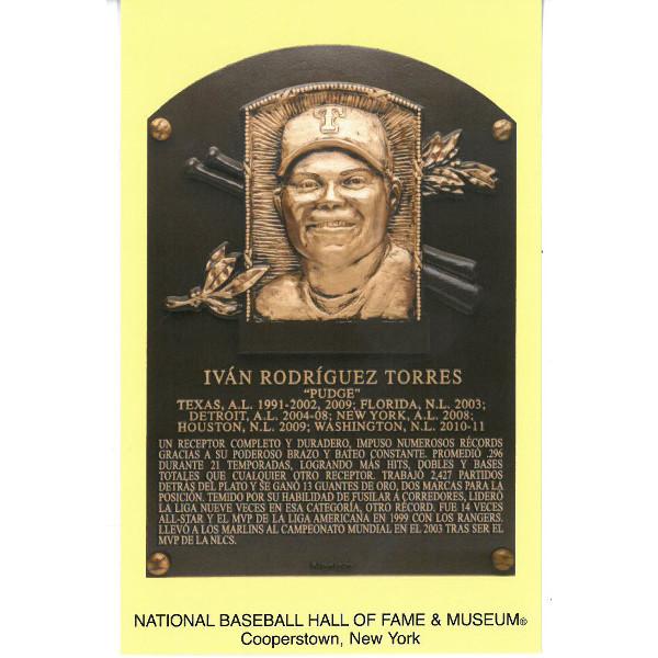 Ivan Rodriguez Baseball Hall of Fame Plaque Postcard (Spanish)