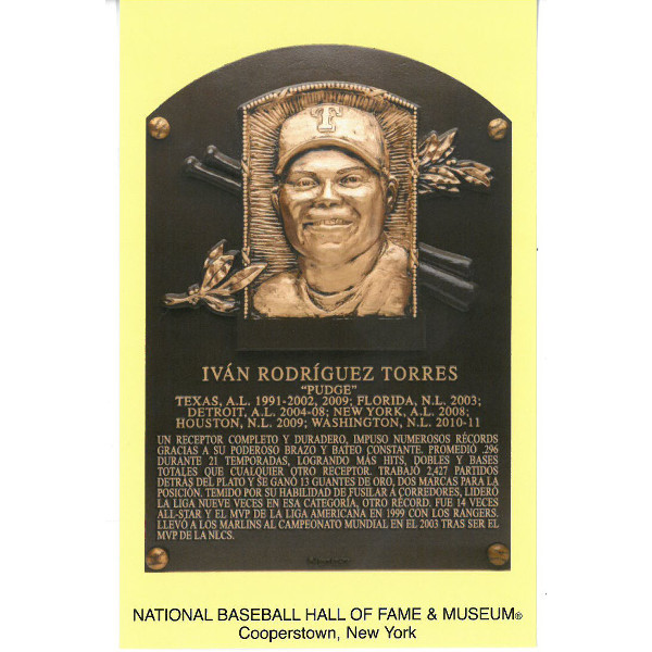 Ivan Rodriguez Baseball Hall of Fame Plaque Postcard (Spanish)