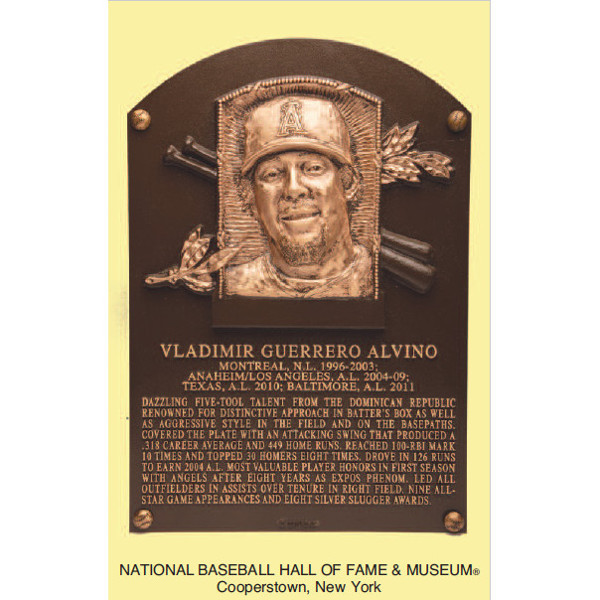 Vladimir Guerrero Baseball Hall of Fame Plaque Postcard (English)