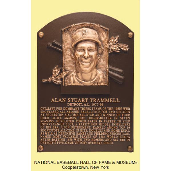 Alan Trammell Baseball Hall of Fame Plaque Postcard