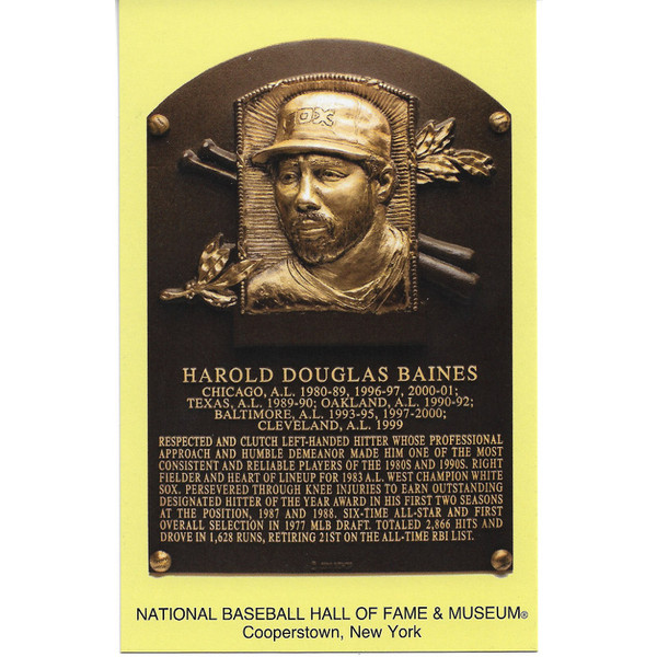Harold Baines Baseball Hall of Fame Plaque Postcard