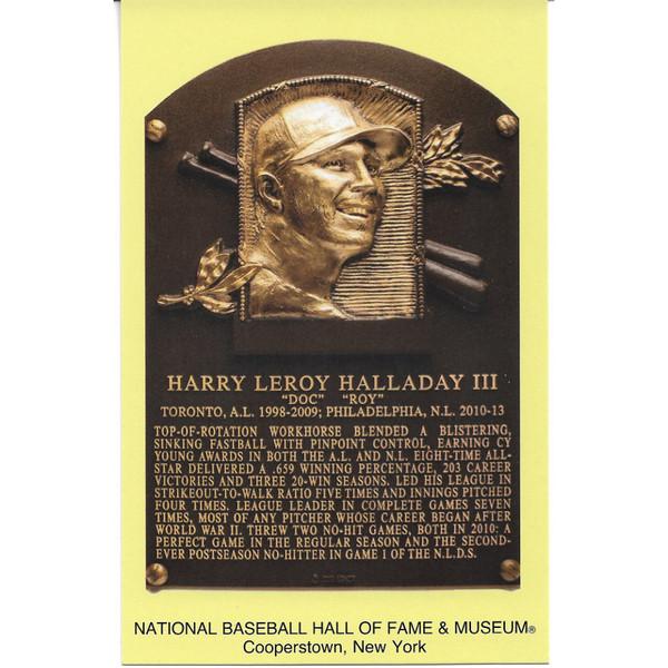Roy Halladay Baseball Hall of Fame Plaque Postcard