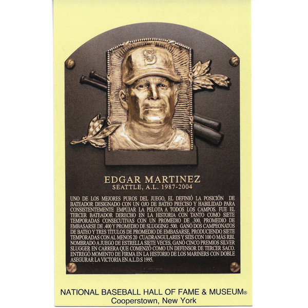Edgar Martinez Baseball Hall of Fame Plaque Postcard (Spanish)