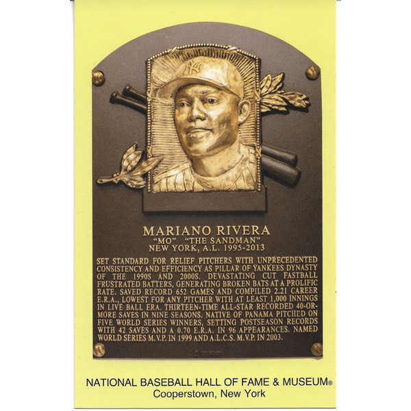 Mariano Rivera Baseball Hall of Fame Plaque Postcard