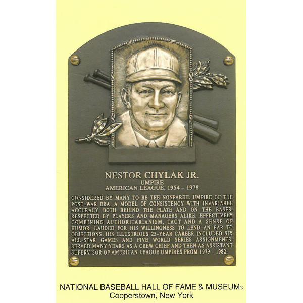Nestor Chylak Baseball Hall of Fame Plaque Postcard