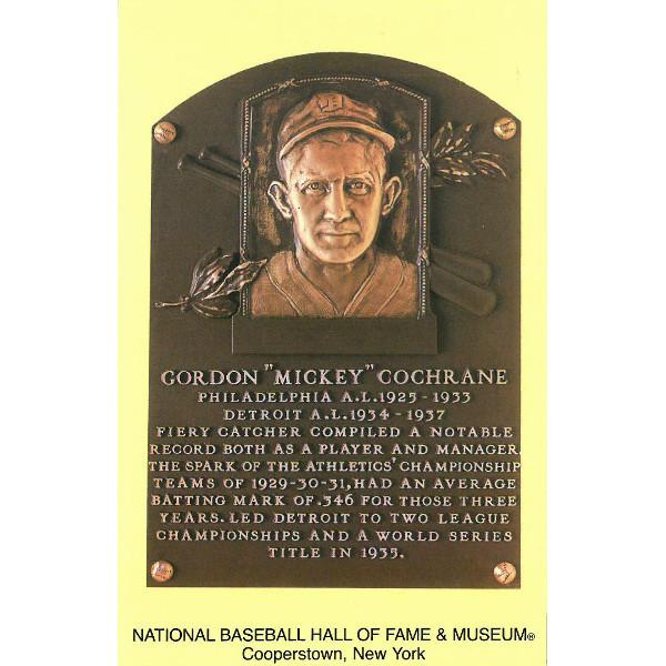 Mickey Cochrane Baseball Hall of Fame Plaque Postcard