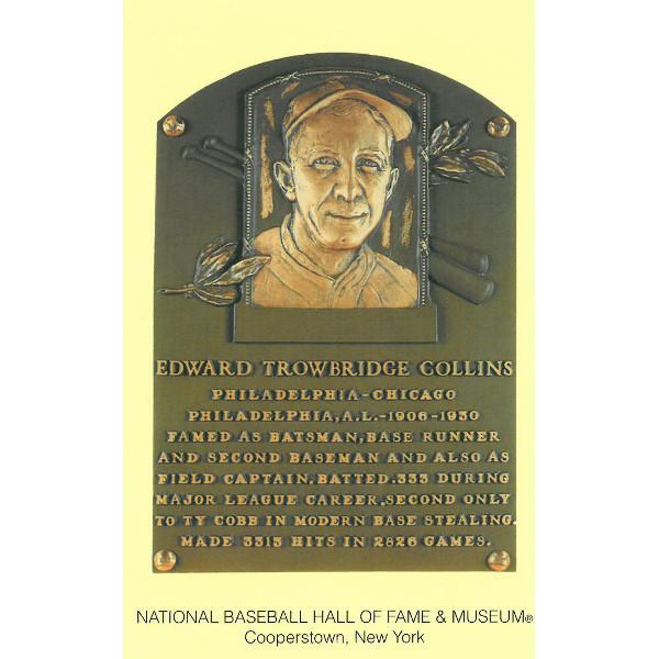 Eddie Collins Baseball Hall of Fame Plaque Postcard