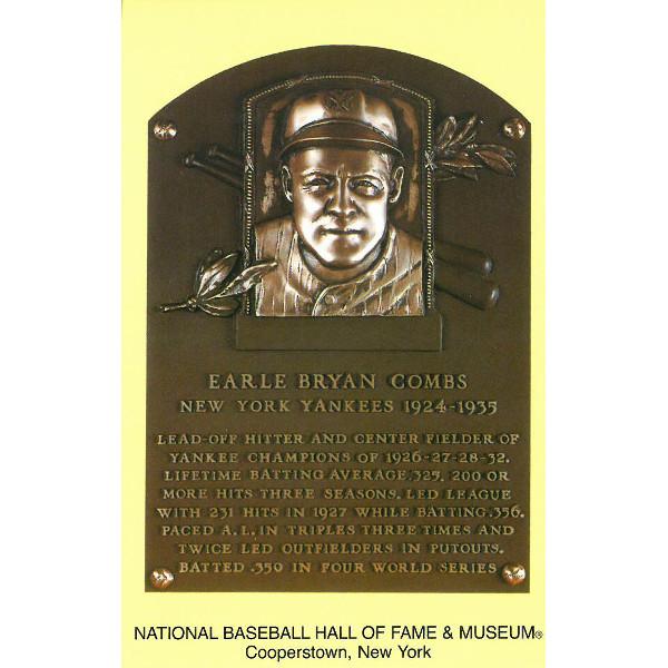 Earle Combs Baseball Hall of Fame Plaque Postcard