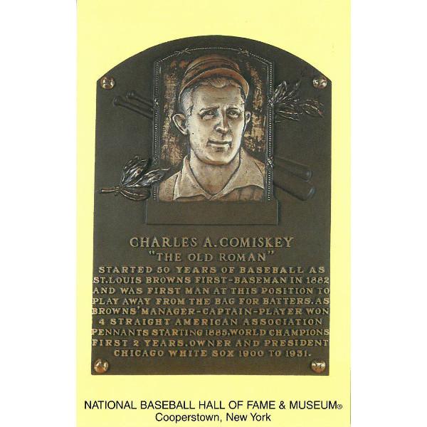 Charles Comiskey Baseball Hall of Fame Plaque Postcard