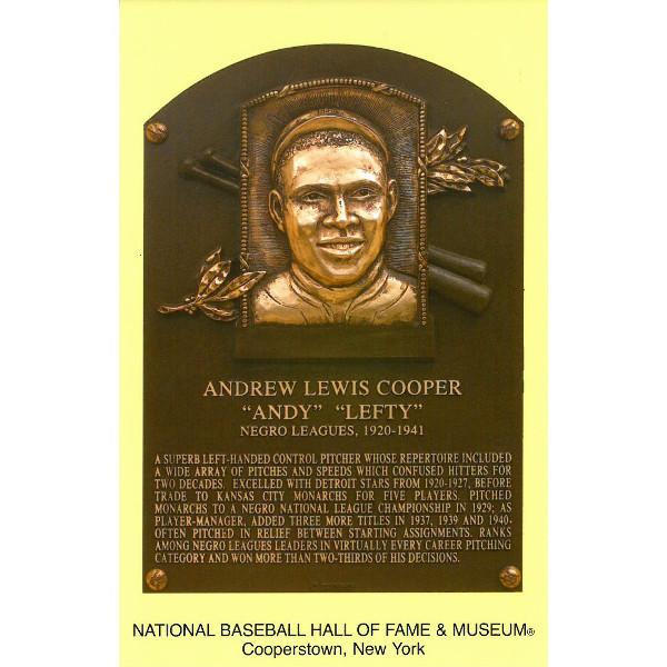Andy Cooper Baseball Hall of Fame Plaque Postcard