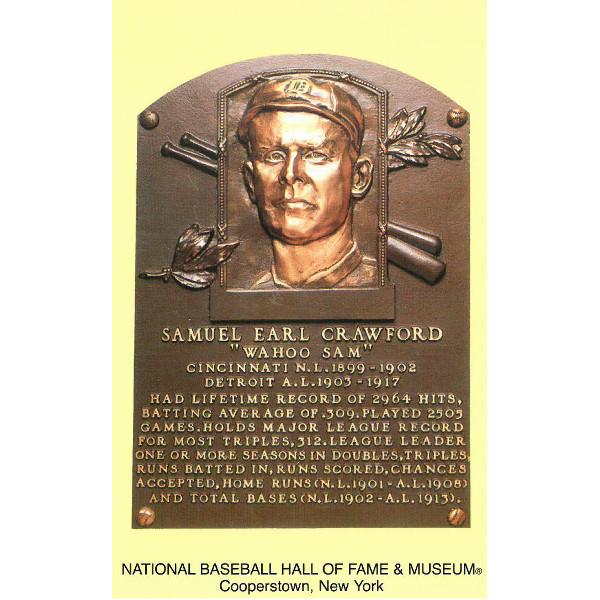 Sam Crawford Baseball Hall of Fame Plaque Postcard