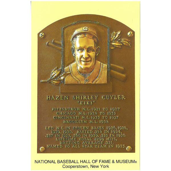 Kiki Cuyler Baseball Hall of Fame Plaque Postcard
